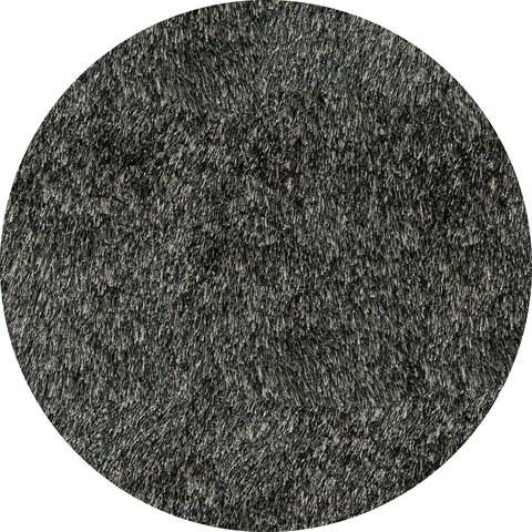 Momeni Luster Shag Carbon Hand-Tufted Shag Rug - 4' x 4' Round