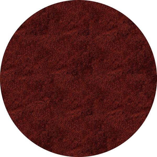 Handmade Posh Brick Red Shag Rug (4' x 4' Round)