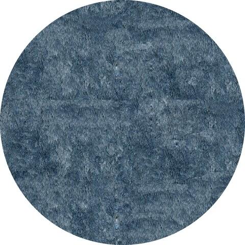 Momeni Luster Shag Light Blue Hand-Tufted Shag Rug (4' X 4' Round) - 4' x 4' Round