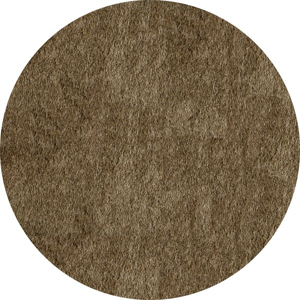 Momeni Luster Shag Light Taupe Hand-Tufted Shag Rug (4' X 4' Round)