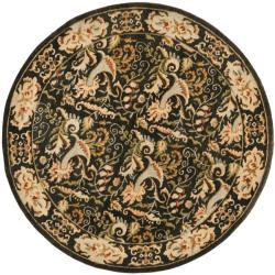 Safavieh Handmade Floral Bells Charcoal Grey Hand-spun Wool Rug (4' Round)