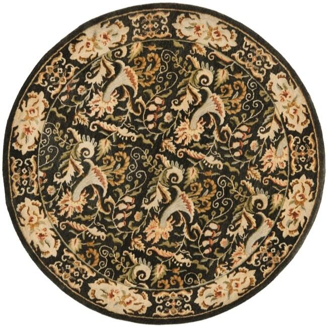 Safavieh Handmade Floral Bells Charcoal Grey Hand-spun Wool Rug (8' Round)