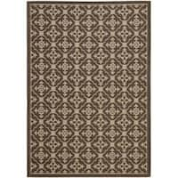 Safavieh Courtyard Poolside Chocolate/ Cream Indoor/ Outdoor Rug - 5'3 x 7'7
