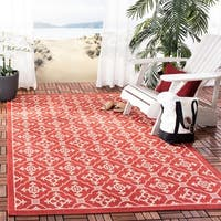 Safavieh Courtyard Poolside Red/ Cream Indoor/ Outdoor Rug - 4' x 5'-7""