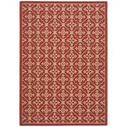 Safavieh Courtyard Poolside Red/ Cream Indoor/ Outdoor Rug (8' x 11'2)