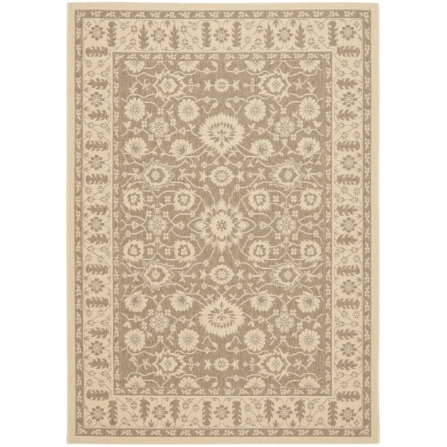 "Safavieh Brown/Cream Indoor/Outdoor Area Rug (6'7"" x 9'6"")"