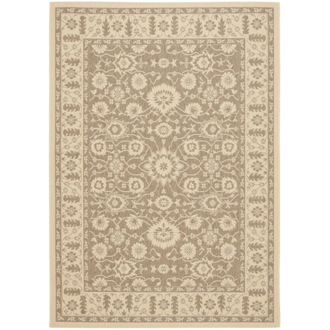 Safavieh Courtyard Oriental Brown/ Cream Indoor/ Outdoor Rug (8' x 11')