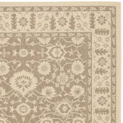 Safavieh Courtyard Oriental Brown/ Cream Indoor/ Outdoor Rug (8' x 11') - Thumbnail 1