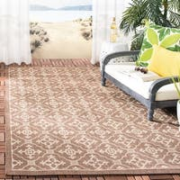"Safavieh Courtyard Poolside Chocolate/ Cream Indoor/ Outdoor Rug - 2'-7"" x 5'"