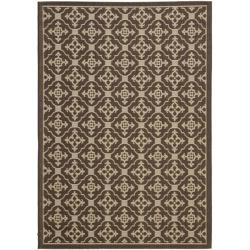 Safavieh Courtyard Poolside Chocolate/ Cream Indoor/ Outdoor Rug - 8' x 11'2 - Thumbnail 0