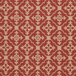 Safavieh Red/ Cream Indoor Outdoor Rug (5'3 x 7'7)