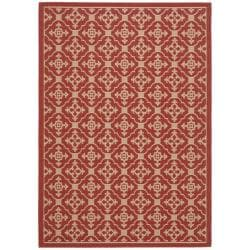 Safavieh Courtyard Poolside Red/ Cream Indoor/ Outdoor Rug (5'3 x 7'7)