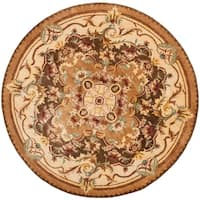 Safavieh Handmade Aubusson Creteil Brown/ Beige Wool Rug - 4' x 4' Round