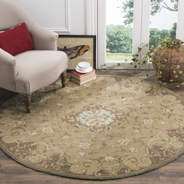 Safavieh Simply Clean Aubusson Hand-hooked Beige/ Brown Rug (6' Round)