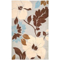 Safavieh Handmade Modern Art Graceful Floral Ivory/ Multicolored Polyester Rug (5' x 8')