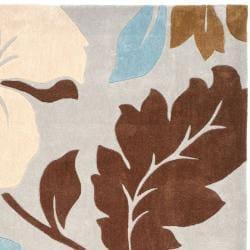 Safavieh Handmade Modern Art Graceful Floral Ivory/ Multicolored Polyester Rug (8' x 10') - Thumbnail 1