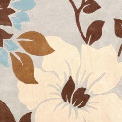 Safavieh Handmade Modern Art Graceful Floral Ivory/ Multicolored Polyester Rug (8' x 10') - Thumbnail 2