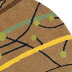 Safavieh Handmade New Zealand Wool Gardens Brown Rug (6' Round) - Thumbnail 1