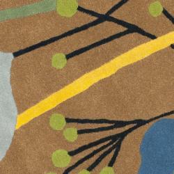 Safavieh Handmade New Zealand Wool Gardens Brown Rug (6' Round) - Thumbnail 2