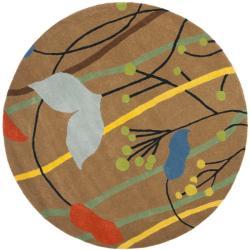 Safavieh Handmade New Zealand Wool Gardens Brown Rug (6' Round)
