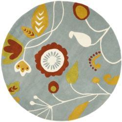 Safavieh Handmade New Zealand Wool Bliss Light Blue Rug (6' Round)