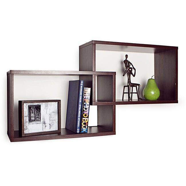 DANYA B. Intersecting Walnut Rectangular Shelves, Brown