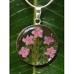 Sterling Silver Light Pink Flower Necklace (Mexico) - Thumbnail 1