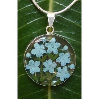 Handmade Sterling Silver Blue Flower Necklace (Mexico)