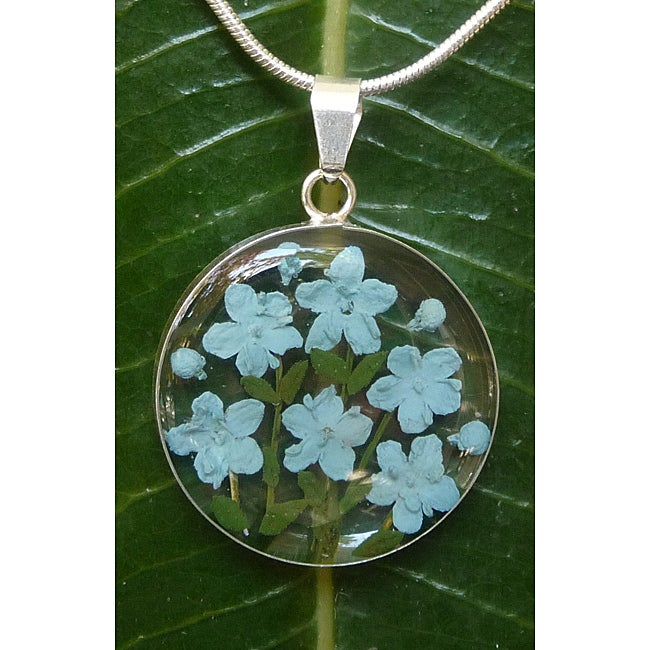 Sterling Silver Blue Flower Necklace (Mexico)