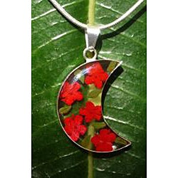 Sterling Silver Red Flower Half-Moon Necklace (Mexico) - Thumbnail 1
