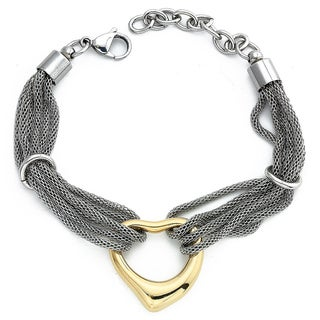 Stainless Steel Yellow Ion-plated Open Heart Mesh Bracelet By Ever One