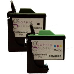 Sophia Global Lexmark 16 & 26 Color Ink Cartridge Set Remanufactured (Set of 4)