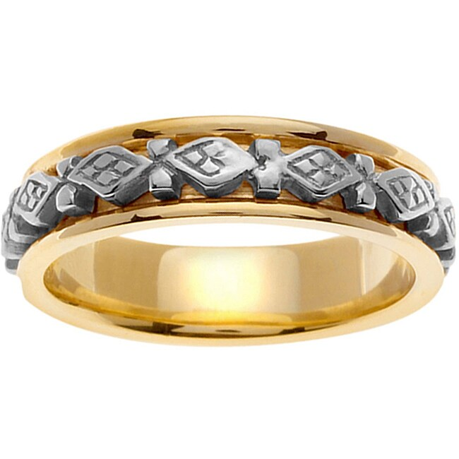 14k Two-tone Gold Men's Diamond-shape Celtic Wedding Band