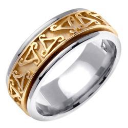14k Two-tone Gold Men's Celtic Triangle Design Wedding Band