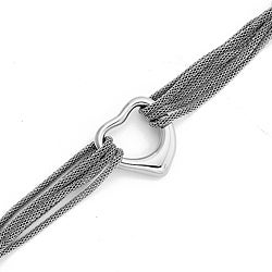 Stainless Steel Silvertone Heart Bracelet By Ever One