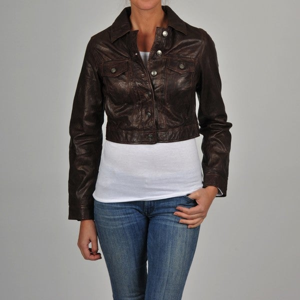 Shop Women's Brown Leather Cropped Jacket - Free Shipping ...