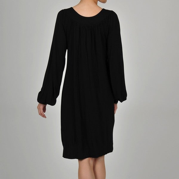 Women's Silky Wool-blend Balloon-sleeve Smock Dress