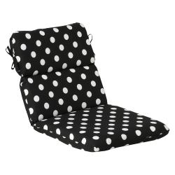 Pillow Perfect Outdoor Black/ White Polka Dot Round Chair Cushion
