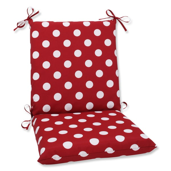 Pillow Perfect Outdoor Red/ White Polka Dot Square Chair Cushion