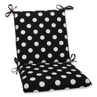 Pillow Perfect Outdoor Black/ White Polka Dot Square Chair Cushion