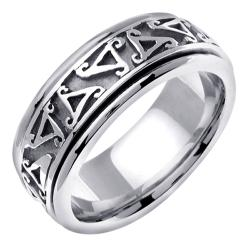 14k White Gold Men's Celtic Design Wedding Band