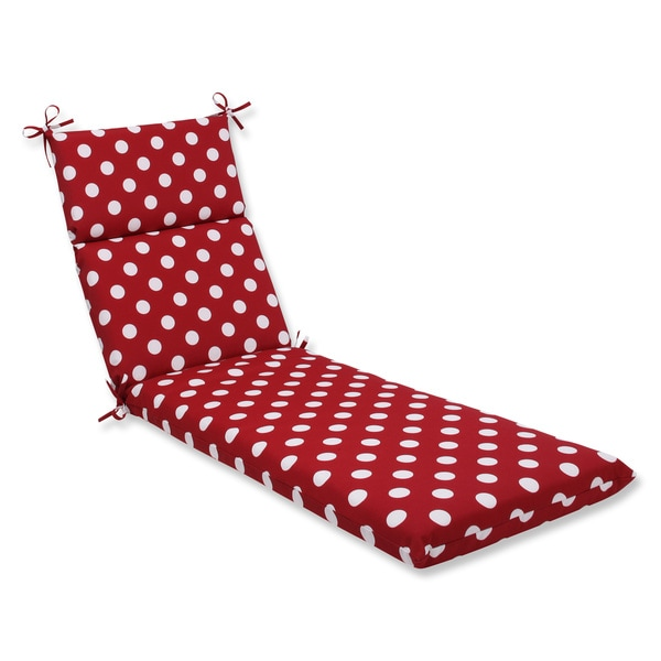 Pillow Perfect Outdoor Red/ White Polka Dot Chaise Lounge Cushion