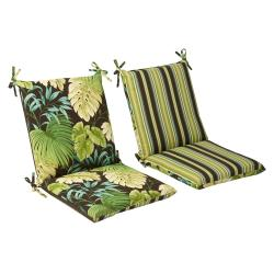 Pillow Perfect Outdoor Green/ Brown Reversible Square Chair Cushion