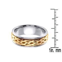 14k Two-tone Gold Men's Celtic Knot Wedding Band - Thumbnail 2