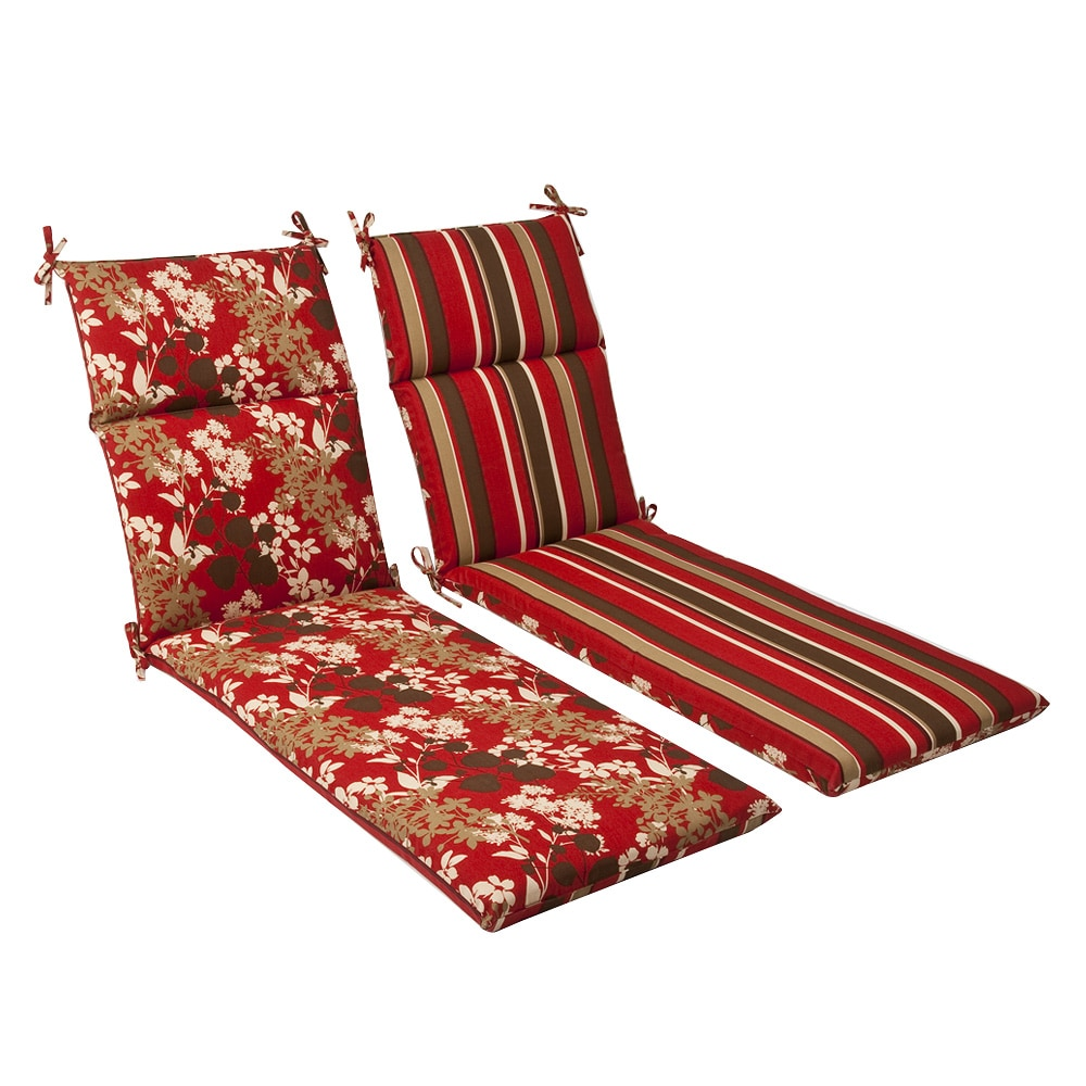 Pillow Perfect Outdoor Red/ Brown Reversible Chaise Lounge Cushion