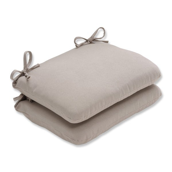 Pillow Perfect Outdoor Beige Solid Round Seat Cushion (Set of 2)