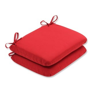 Pillow Perfect Outdoor Red Solid Round Seat Cushion (Set of 2)