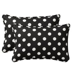 Pillow Perfect Decorative Black/ White Polka Dot Outdoor Toss Pillows (Set of 2)