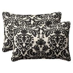 Pillow Perfect UV-Resistant Outdoor Black/Beige Damask Toss Pillows (Set of Two)