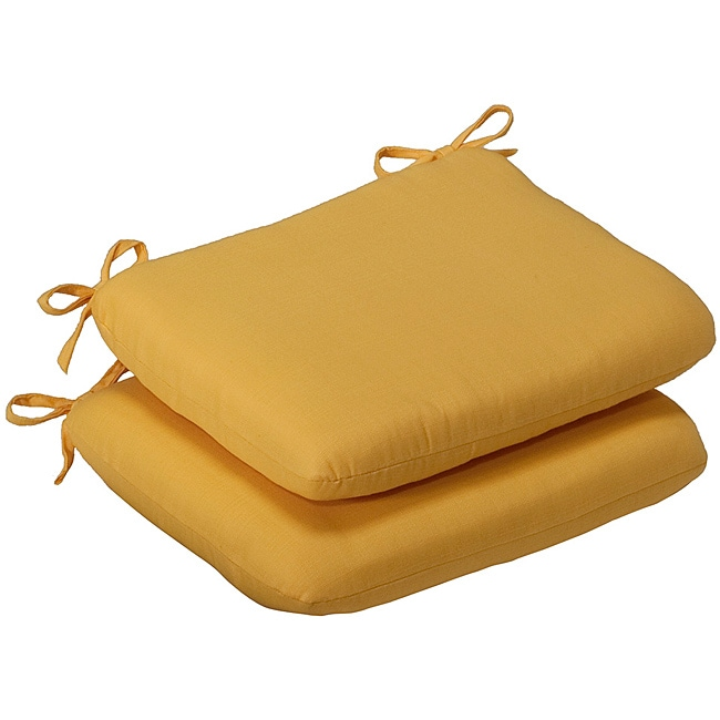 Pillow Perfect Outdoor Yellow Solid Rounded Seat Cushions (Set of 2)